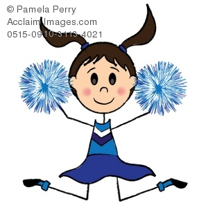 300x300 Clip Art Illustration Of A Stick Girl Cheerleader