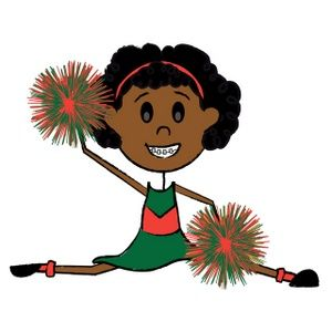 300x300 Free African American And White Cheerleader Clip Art 2016