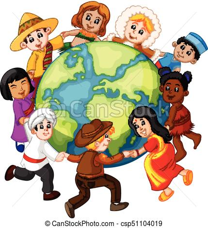 429x470 Illustration Of Children Holding Hands Around The World Vector