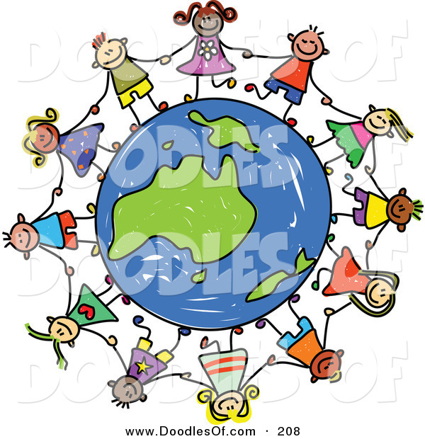 600x620 Vector Clipart Of A Childs Sketch Of A Group Of Children Holding