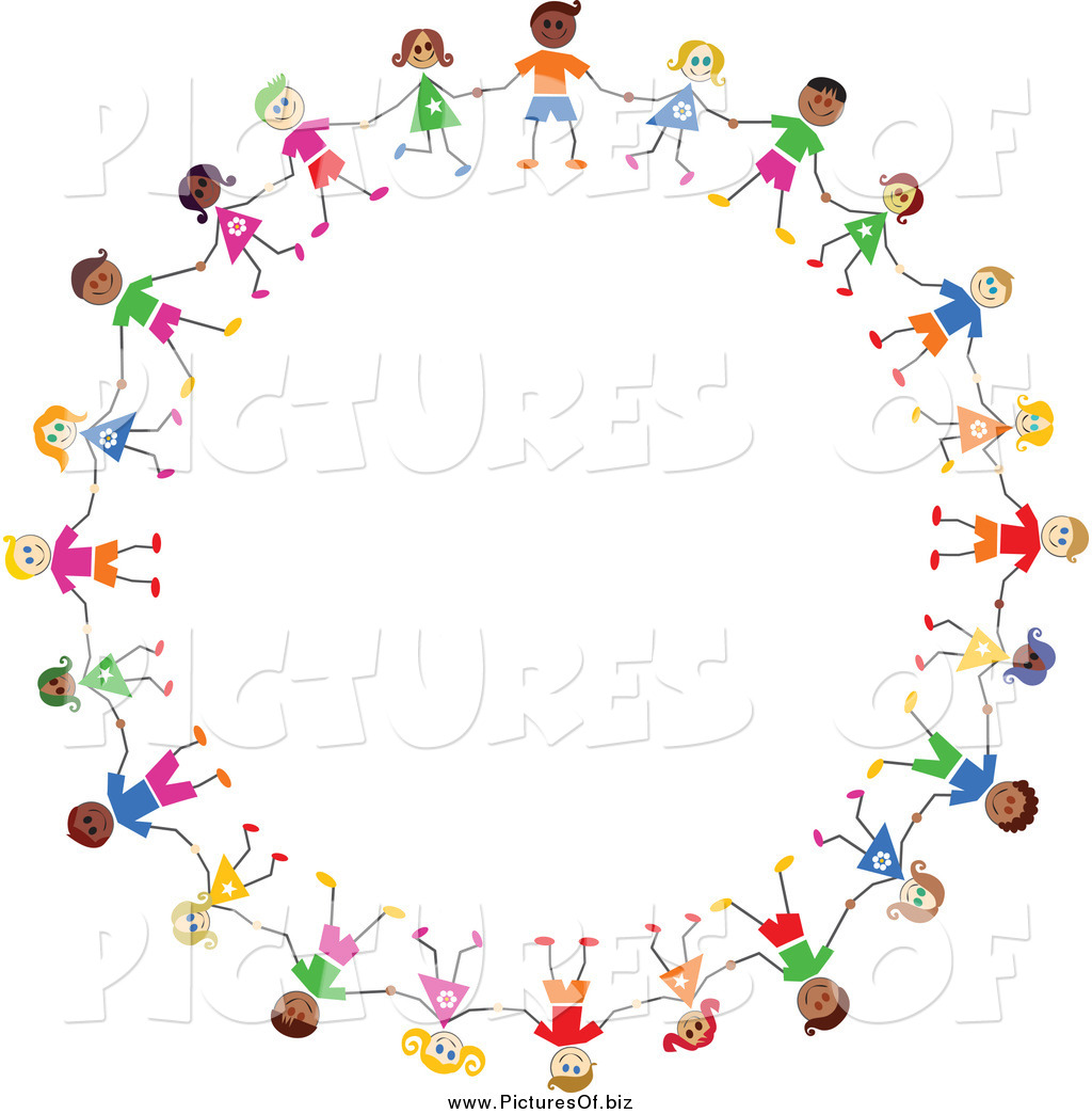 1024x1044 Vector Clipart Of A Circle Of Diverse Stick Children Holding Hands