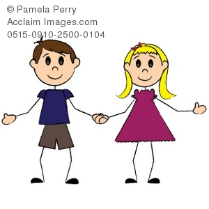 300x300 Cartoon Boy And Girl Holding Hands Clip Art Picture