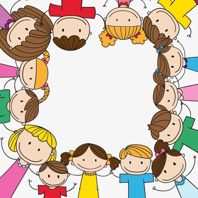 650x650 Cartoon Children Holding Hands Border Background, Hand Painted