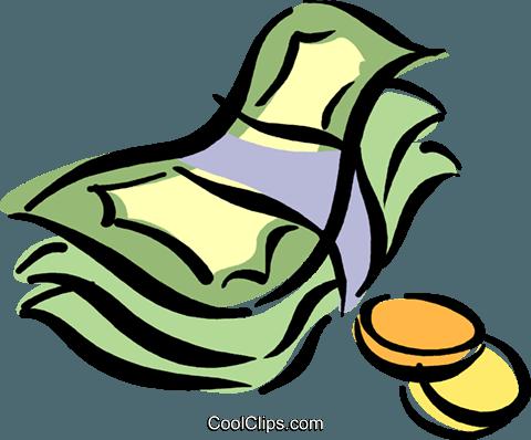 480x398 Dollar Bills And Coins Royalty Free Vector Clip Art Illustration