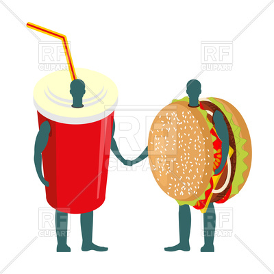 400x400 Fast Food Friends. Drink And Hamburger. Royalty Free Vector Clip