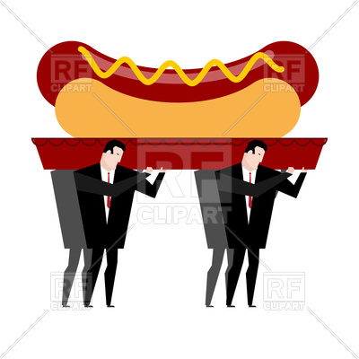 400x400 Funeral Of Hot Dog. Fast Food Is Carried In Coffin. Royalty Free
