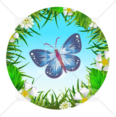396x400 Butterfly In A Circle Around Flowers Royalty Free Vector Clip Art
