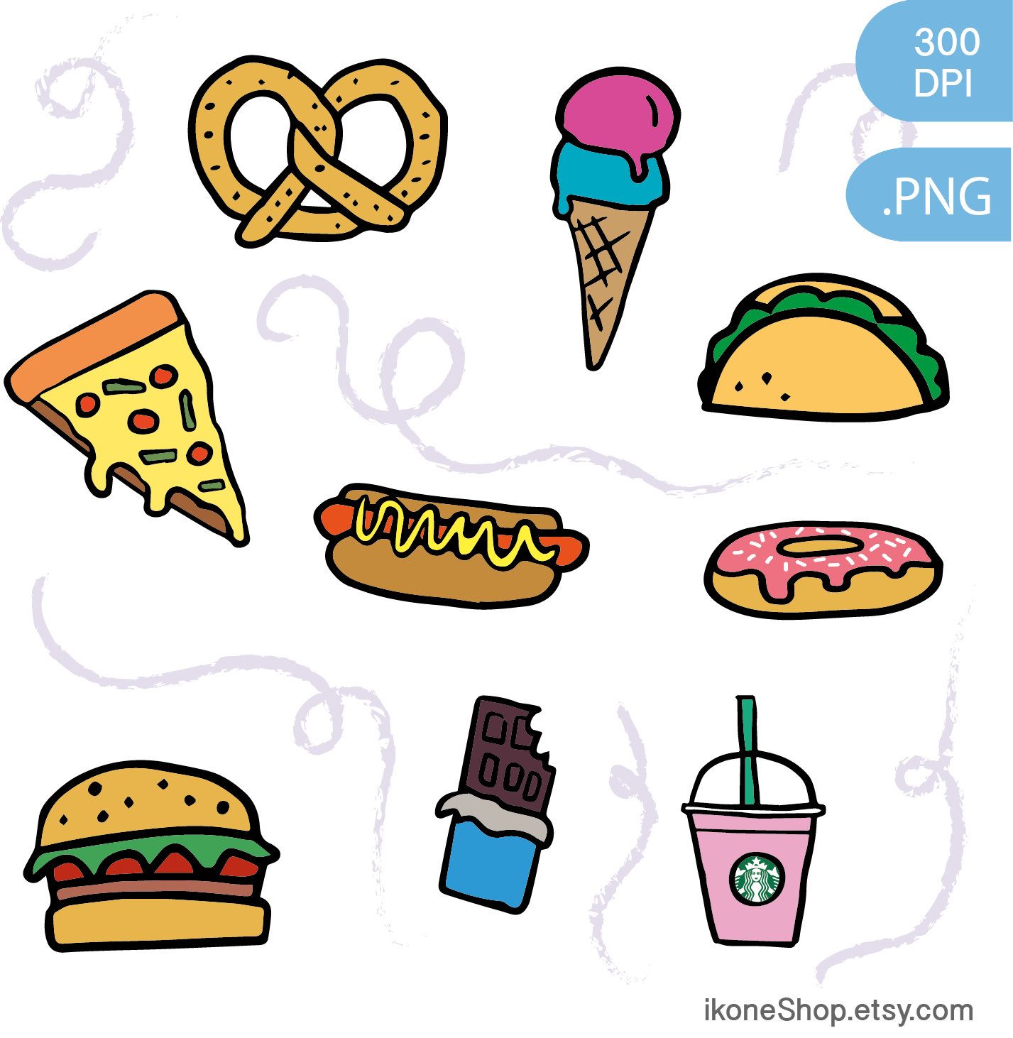 1427x1462 Junk Food Clipart Fast Food And Sweets Digital Stickers