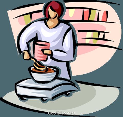 480x455 Woman Weighing Bulk Food Items Royalty Free Vector Clip Art