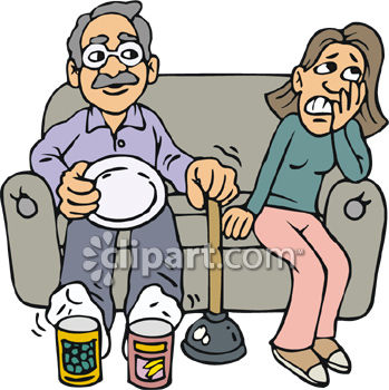 349x350 Clipart Picture Of A Grandfather Showing His Granddaughter How