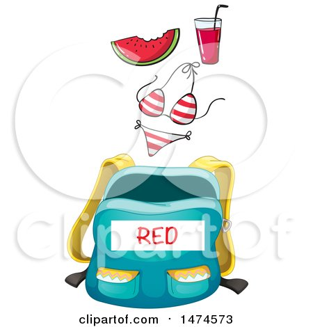 450x470 Clipart Of A Backpack With A Red Label And Color Matching Items