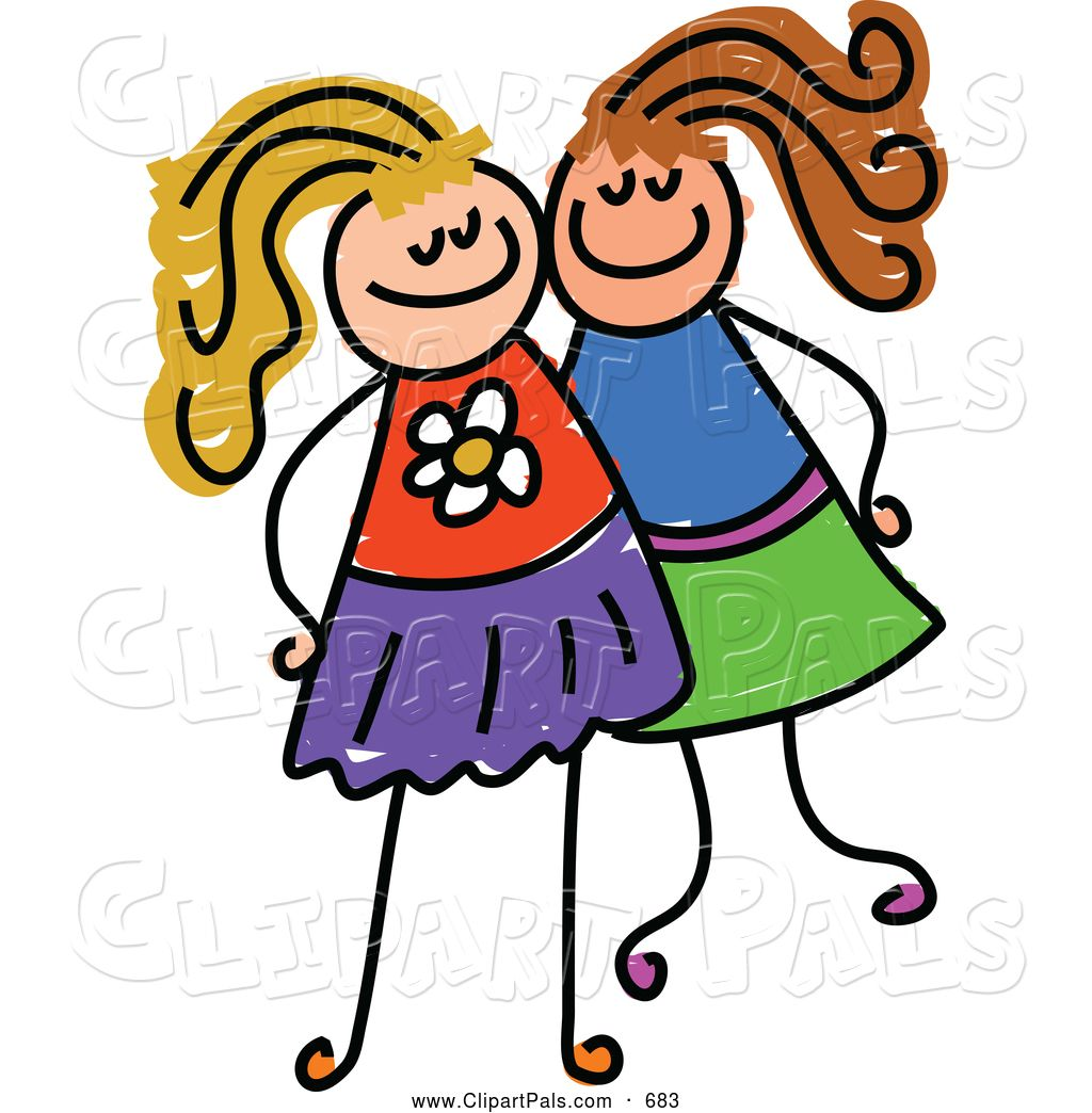 1024x1044 Royalty Free Pal Clip Art Of A Childs Sketch Of Two Grinning Girls