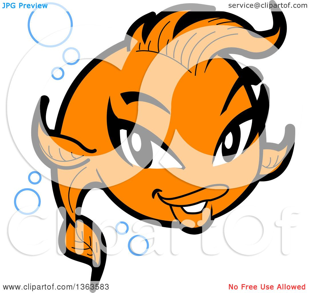 1080x1024 Clipart Of A Cartoon Pretty Female Goldfish With Bubbles