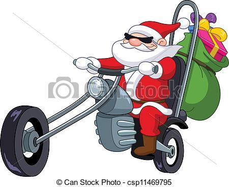 450x367 Motorcycle Santa Clipart