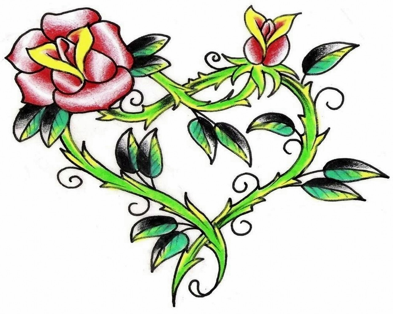 1280x1024 Flowers And Hearts Tattoos Free Download Clip Art Free Clip