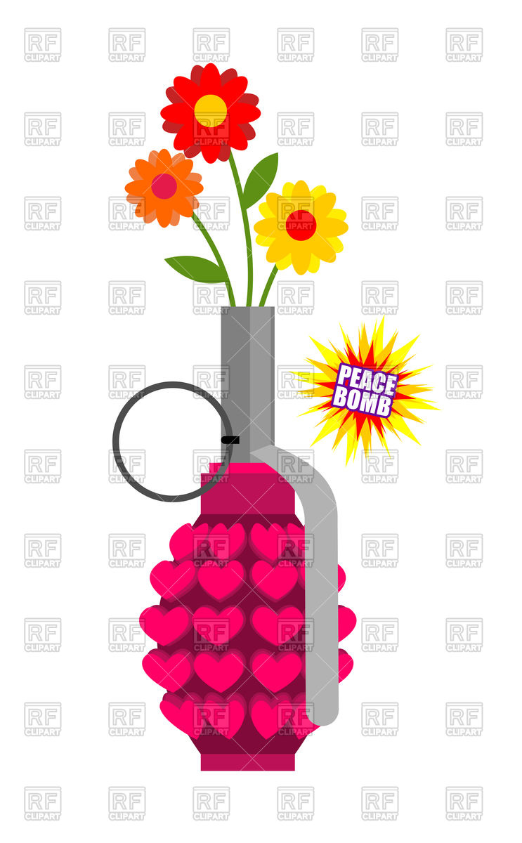 743x1200 Hand Grenade With Hearts And Flowers Royalty Free Vector Clip Art