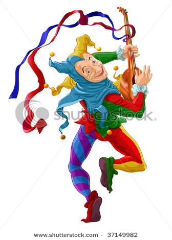 336x470 Picture Of A Joker Playing A Mandolin In A Vector Clip Art