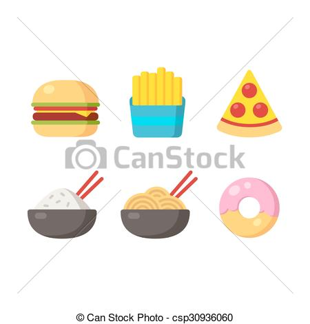 450x470 Fast Food Icons Burger And Fries, Pizza, Chinese Food And Clip