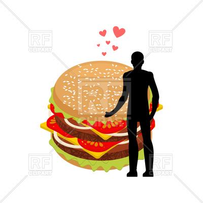 400x400 Man And Hamburger Embrace Royalty Free Vector Clip Art Image
