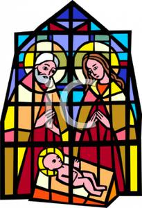 205x300 A Stained Church Window Depicting Mary, Joseph, And Baby Jesus