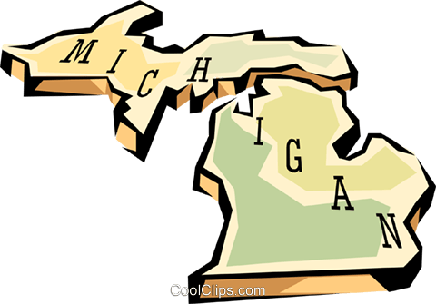 480x335 Michigan State Map Royalty Free Vector Clip Art Illustration