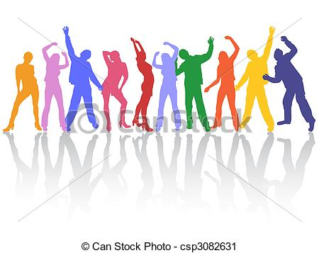 450x357 Dancing People. Vector Illustration Of Colorful People Vector