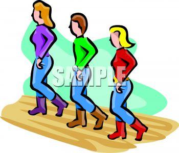 350x300 People Line Dancing Clip Art