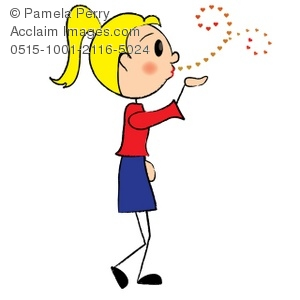 300x300 Clip Art Illustration Of A Stick Figure Girl Blowing Kisses