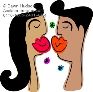 300x297 A Couple In Love Kissing Clipart Illustration
