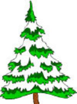 261x350 Snowy Pine Tree Clip Art Image