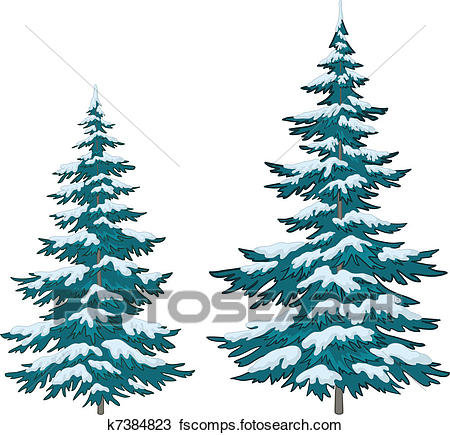 450x435 Clipart Pine Tree In Snow Art Illustration Of A Covered