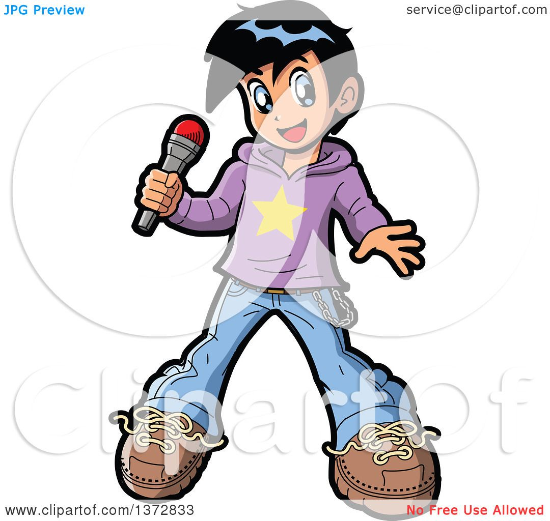 1080x1024 Clipart Of A Manga Boy Pop Star Singer Holding A Microphone
