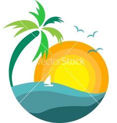 236x248 Palm Trees, Sun And Ocean Vector Art Illustration