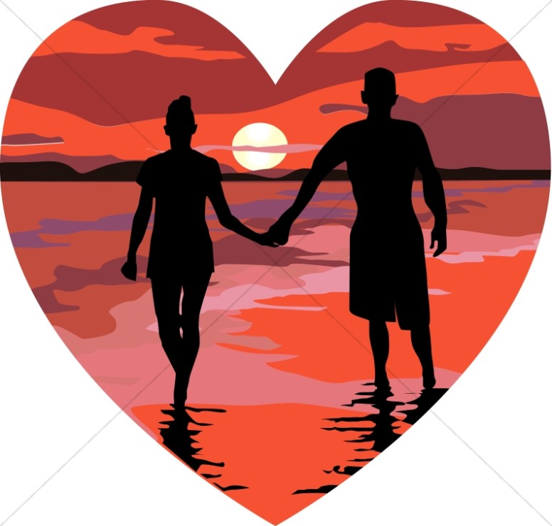 776x740 Red Sunset Heart Valentines Day Clipart