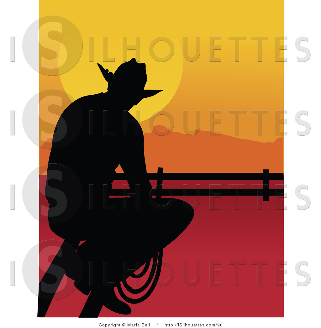 1024x1044 Silhouette Clipart Of A Cowboy Sitting On A Fence