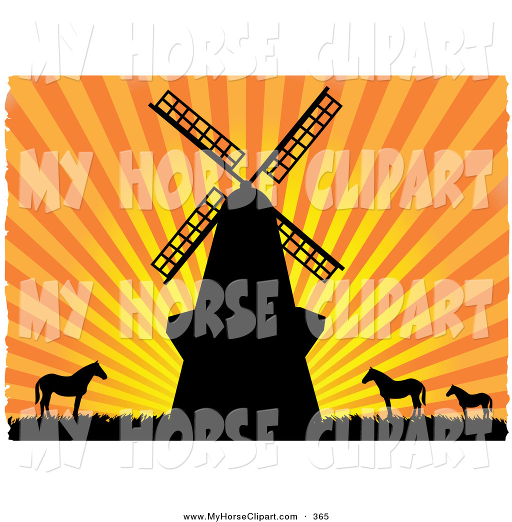 1024x1044 Clip Art Of A Windmilld Horses Silhouetted In Black Against