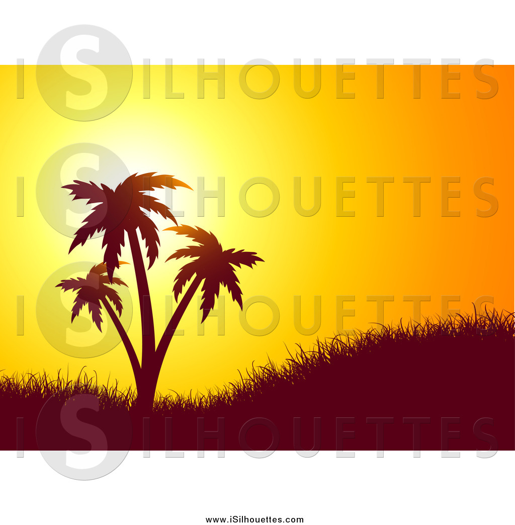 1024x1044 Clipart Of An Orange Sunset Silhouetting A Grassy Hill And Palm