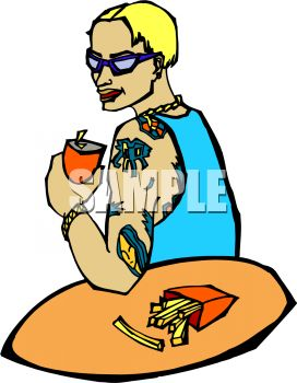 272x350 Royalty Free Clip Art Image Guy With Tattoos Eating Fast Food