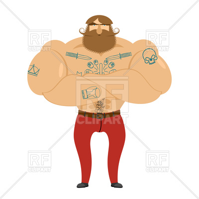 400x400 Bearded Hipster With Tattoos, Brutal Man Royalty Free Vector Clip