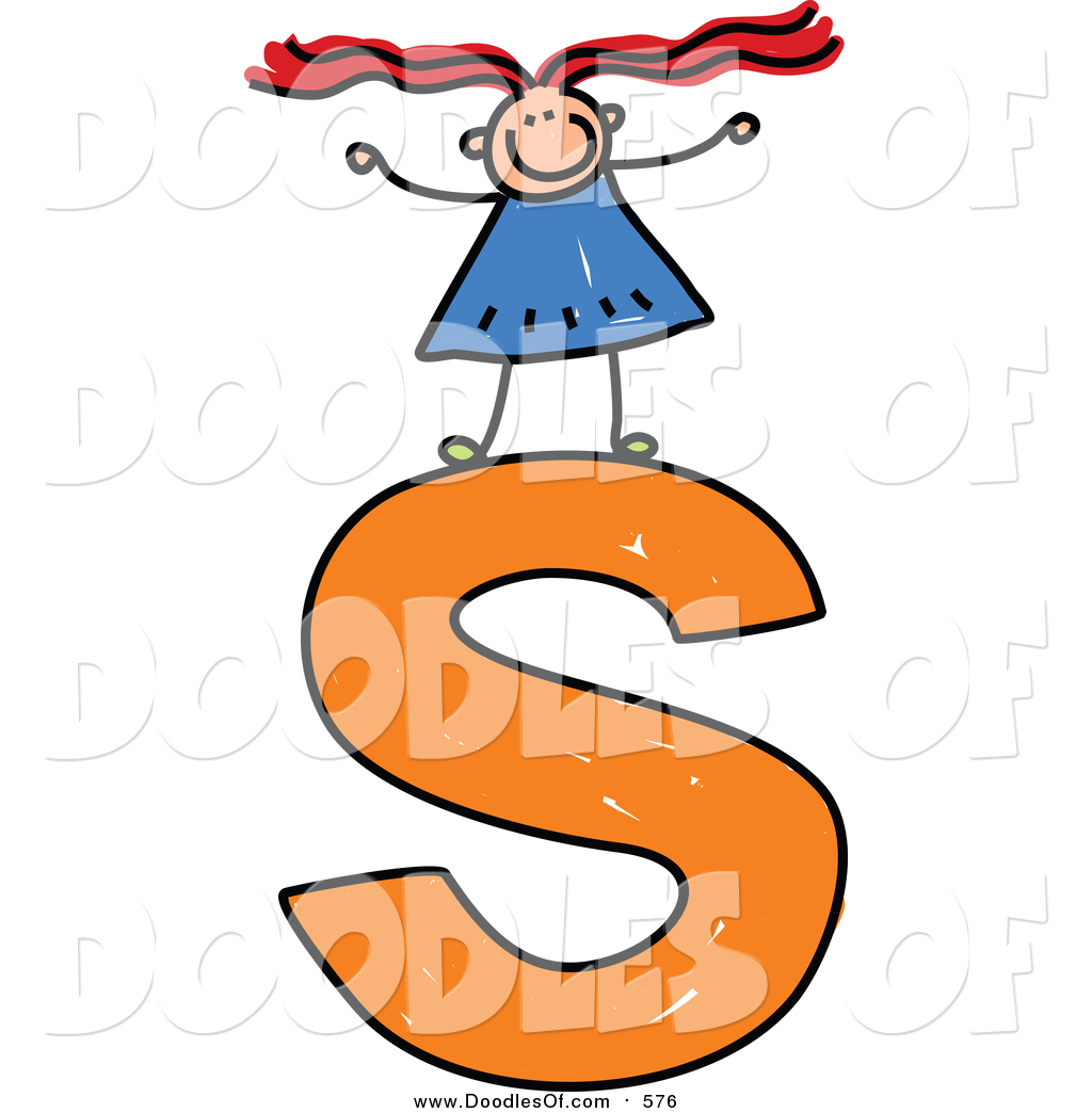 1024x1044 Vector Clipart Of A Doodled Girl On A Lowercase Letter S By Prawny