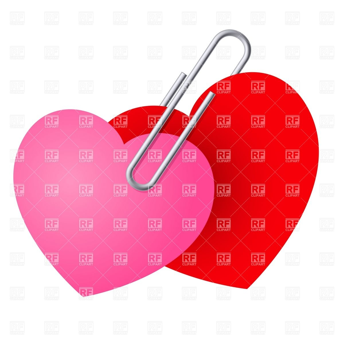 1200x1200 Two Paper Hearts Pinned Together With Paper Clip Royalty Free