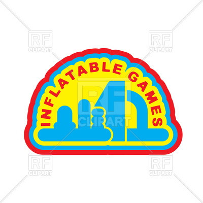 400x400 Inflatable Games. Emblem For Water Park Amusement Royalty Free