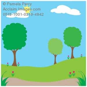 300x300 Clip Art Illustration Of A Spingtime Park On A Sunny Day