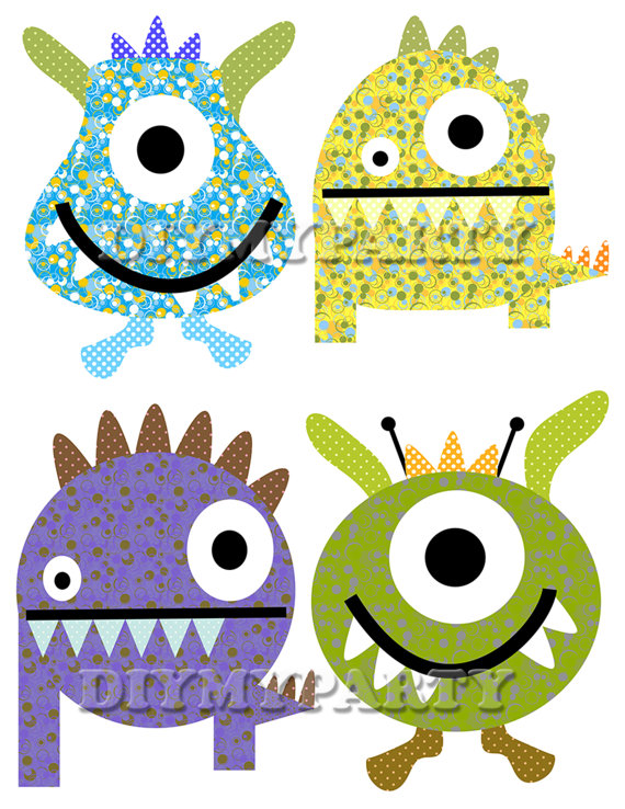 570x738 Diy Printable Monsters Clipart Monsters Clip Art Monster Party