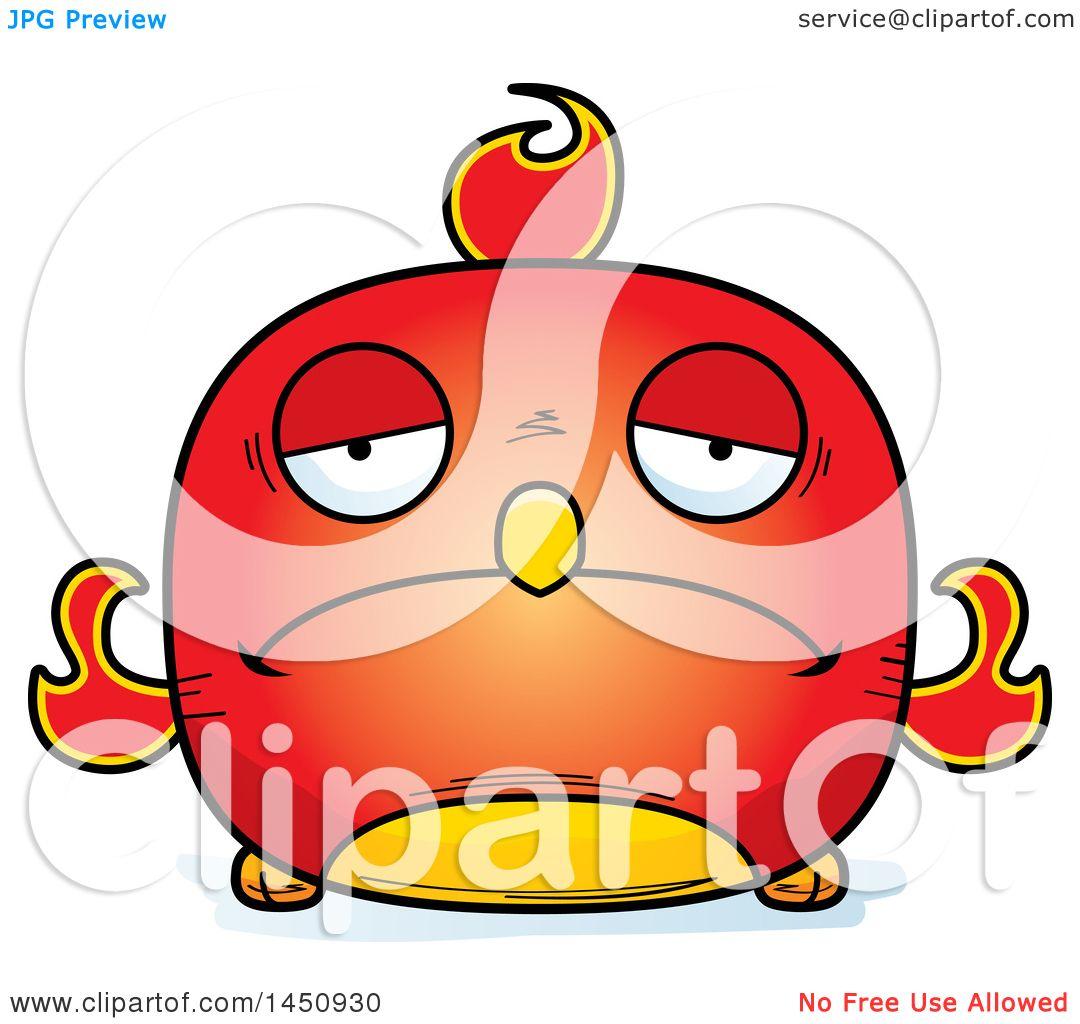 1080x1024 Clipart Graphic Of A Cartoon Sad Phoenix Character Mascot