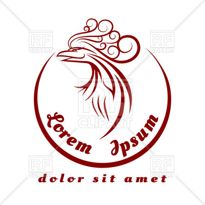 400x400 Emblem With Stylized Contour Of Head Of Phoenix Royalty Free