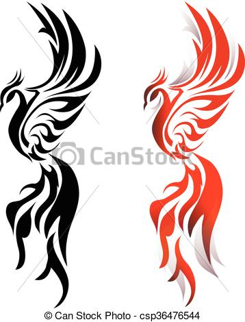 358x470 Phoenix Fire Bird In Monochrome And Color Eps Vector