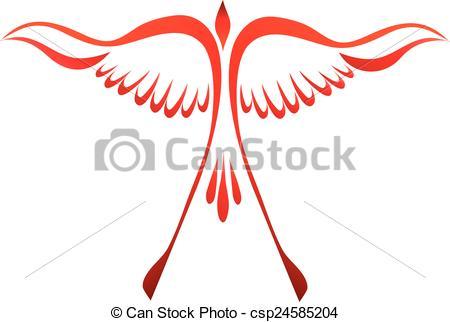 450x322 Phoenix Raising. Stylized Phoenix Bird Flying Up Vector Clipart