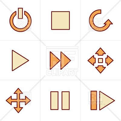 400x400 Media Panel Icons Set Stop, Next, Pause, Play Royalty Free Vector