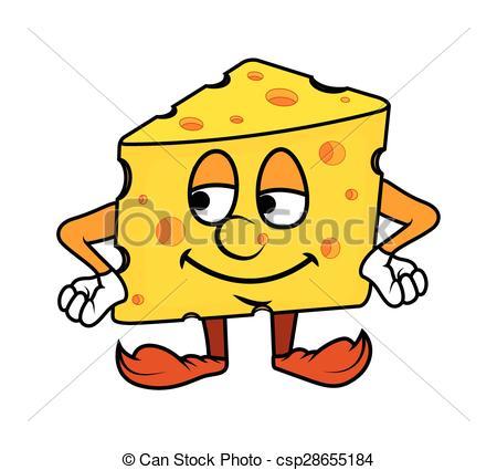 450x425 Cartoon Cheese Portrait Vector Illustration.
